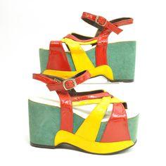 UNiQUE 60s COLORFUL PLATFORM Sandals. $300.00, via Etsy.