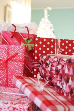 Red and white Christmas gift wrap