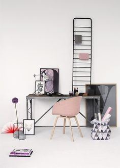 office: dusty pink & grey