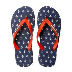 Buy Tangerine Toes Mens Navy Anchor Flipflop
