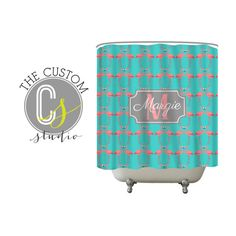 Personalized Shower Curtain  Flamingo by TheCustomStudioShop