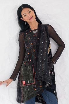 Silk Ralli Wrap Vest by Mieko Mintz (Silk & Cotton Vest) Couture Fashion, Diy Fashion, Indian Fashion, Fashion Design, Fashion Hacks, Color Fashion, Korean Fashion, Style Fashion, Fashion Ideas