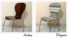 ANTES DEPOIS Renovando uma cadeira com tecido   Faça Você Mesmo