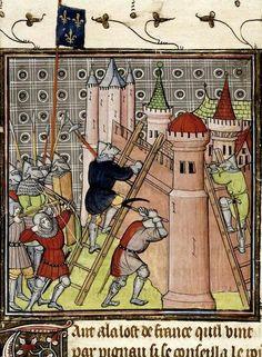 The French destroy Genoa, Chroniques de France ou de St. Denis (Brit. Lib. Royal 20 C VII, fol. 19), end of the 14th century.