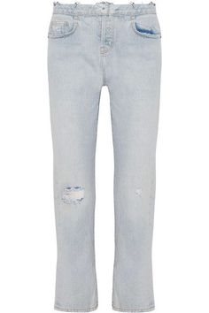 Current/Elliott - The Original Straight Distressed High-rise Jeans - Light blue