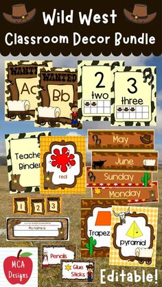 Check out my Wild West Classroom Décor Editable Bundle features all you need to have a fresh new look for your classroom this fall! Check out the preview for a quick look at this colorful theme. My Wild West Classroom Décor Editable Bundle features my ENTIRE Wild West collection! Classroom Décor, Classroom Supplies, Classroom Posters, Future Classroom, Teaching Resources, Classroom Resources, Teaching Ideas, Class Decoration, Teacher Hacks