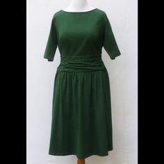 "New Eshakti Green Fit & Flare Knit Dress 20W New Eshakti green fit & flare knit dress. Size 20W Measurements: Underarm to underarm: 42"" Waist: 38-42""  Length: 45"" Eshakti size guide for 20 bust: 47"" Ruched draped waist, side hidden zipper, side seam pockets. Ruched pleated skirt. Cotton/spandex, jersey knit. Light stretch, mid-weight. Machine wash. eshakti Dresses"