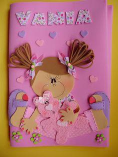 A magica do EVA: Capa de caderno decorada. Elsa, Origami, Girly, Scrapbook, Dolls, Frame, Pattern, Home Decor, Craft Corner