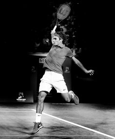 Roger Federer (Switzerland) - 2014 Australian Open Men's Singles Quarterfinal. Photographer: Wayne Ludbey