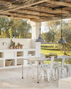 Outside Living, Outdoor Living, Villas, Porches, Dining Chairs, Dining Table, Normal Life, Pergola, Exterior