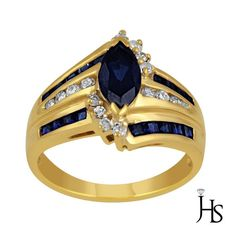 14K Yellow Gold 0.15 CT Round Diamond With Marquise Created Sapphire Ring - JHS #WomensFancyGemStoneRingJHS