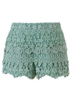 Floral Crochet Shorts in Teal - Bottoms - Retro, Indie and Unique Fashion
