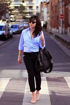 simple blouse + trouser + nude shoes