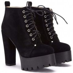 Koi Couture 1499-2 Black Suede (€32) ❤ liked on Polyvore featuring shoes, boots, ankle booties, faux suede booties, black laced booties, black bootie, lace up platform bootie and suede ankle boots
