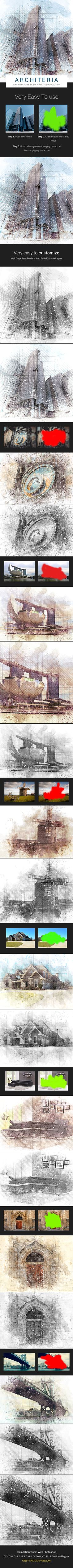 Architeria - Architecture Sketch #Photoshop Action - #Photo #Effects Actions