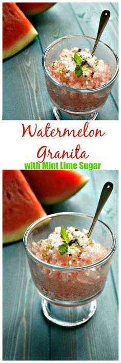 Watermelon Granita with Mint Lime Sugar: Fresh watermelon is turned ...