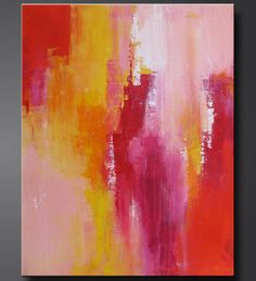 """'Sorbet 2'  28"""" x 22"""".  Abstract acrylic painting in a great contemporary style by Charlens Abstracts, shades of soft pink, orange, sunshine yellow, raspberry, red, and white."""