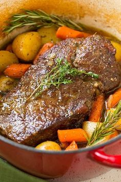Flavorful pot roast with fresh potatoes and carrots. Deliciously seasoned and perfectly tender! A staple dinner recipe! Flavorful pot roast with fresh potatoes and carrots. Deliciously seasoned and perfectly tender! A staple dinner recipe! Roast Beef Recipes, Crockpot Recipes, Cooking Recipes, 2 Lb Roast Recipe, Vegan Recipes, Best Chuck Roast Recipe, Venison Roast Crockpot, Boneless Chuck Roast Recipes, Pasta Recipes