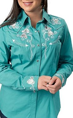 Panhandle Slim® Women's Turquoise Retro Floral Embroidery with Crystals Long Sleeve Western Shirt | Cavender's Boot City