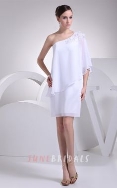 Simple Casual Beaded One Shoulder White Chiffon Short Bridal Dress for Mature Br. Simple Casual Beaded One Shoulder White Chiffon Short Bridal Dress for Mature Brides Over White Bridesmaid Dresses, Homecoming Dresses, Bride Dresses, Bridesmaids, Wedding Dresses For Older Women, Long Sleeve Chiffon Dress, Chiffon Dresses, Bridal Party Dresses, Reception Dresses