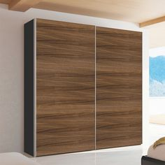 Click to zoom - Loft two door sliding wardrobe walnut