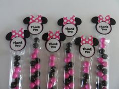 10 Minnie Mouse tag and favor bag NO chocolate. by on Etsy Minnie Birthday, Minnie Mouse Party, Birthday Ideas, Baby Disney, Favors, Baby Shower, Minne, Chocolate, Grandkids