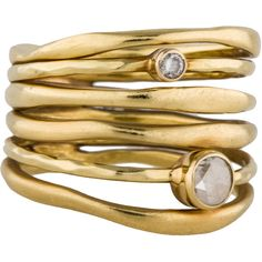 Pre-owned Ippolita 18K Glamazon Diamond Stack Ring ($1,575) ❤ liked on Polyvore featuring jewelry, rings, accessories, bezel set diamond ring, ippolita ring, pre owned jewelry, ippolita jewelry and stacking rings jewelry
