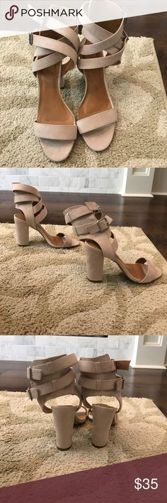 Charlotte Russe- Strappy Heels- NWOT Super cute taupe heels. Perfect for dressing up any outfit! Adjustable straps around the ankles. Heel height measures 4 inches. Size: 7. Brand new, never worn. Charlotte Russe Shoes Heels