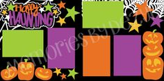 Scrapbook Page Kit 2-Page 12X12 Premade Scrapbook Page Layout or Page Kit-Halloween/Happy Haunting - pinned by pin4etsy.com