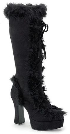 Black Faux Fur Knee High Boot $59.99