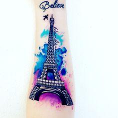 Eiffel tower tattoo Wrist Tattoos, Body Art Tattoos, Sleeve Tattoos, Cool Tattoos, Pixie Tattoo, S Tattoo, Back Tattoo, Dream Tattoos, Future Tattoos
