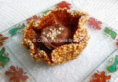 Cestino croccante con miglio soffiato e ganache al cioccolato gianduia