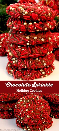 These festive Chocolate Sprinkle Holiday Cookies are a unique take on traditional Chocolate Crinkle Cookies and will be one of your family's favorite Christmas Desserts. This is a great Christmas Cookie that is easy to make and tastes great too!  Follow us for more fun Christmas Food ideas.