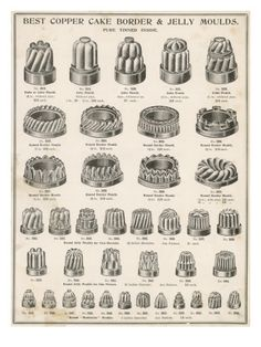 A Selection of Copper Border and Jelly Moulds Poster