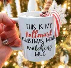 This Is My Hallmark Christmas Movie Watching Mug, Hallmark Christmas Movie Mug, Funny Mug, Christmas Diy Christmas Mugs, Christmas Coffee, Christmas Design, Christmas Candy, Christmas Decorations, Christmas Mood, Hallmark Christmas Movies, Hallmark Movies, Grilling Gifts