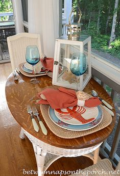 Beach Themed Table Setting in Aqua and Coral  with Lobster Plates by Between Naps on the Porch