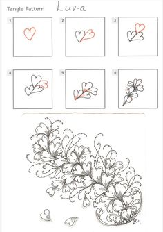 How to draw LUV-A « TanglePatterns.com - zentangle - patterns zendoodle patterns, heart zentangle, how to draw zentangles, how to draw letters, zentangl pattern, how to draw doodles, draw luva, zentangle patterns how to, doodling how to
