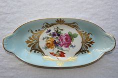 Item: Blue tray with flowers  Mark: Limoges, France  Condition: No chips, no cracks, no crazing, no repair. In good vintage condition. ______________________________   I am passionate about old and beautiful objects. I do sellect very carefully everything that I collect. Please keep in mind that this is a vintage item and not brand new. SLIGHT WEAR SHOULD BE EXPECTED. Therefore, there might be some imperfections and that is normal for vintage items. I will mention anything major. Pictures…