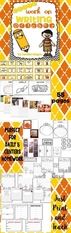 Do you have an independent writing time in your classroom other than Writer's Workshop? If you use Daily Five or Centers, this is for you!   This 55 page product was carefully crafted with the primary student in mind. It includes:   *Word Cards for your Word Wall or Writing Center  *3 Label It pages (2 versions of each with or without a word bank)  *6 Expository Photograph Writing Activities (2 versions; one with handwriting lines and the other with lines)  *2 Pumpkin Writing Craftivities  *8 cr