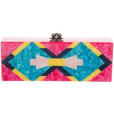 Pre-owned Edie Parker Geometric Flavia Clutch ($475) ❤ liked on Polyvore featuring bags, handbags, clutches, pink, blue hand bag, blue purse, pink handbags, multi colored clutches and man bag