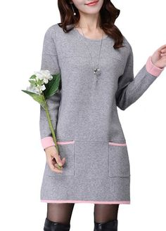 Round Neck Pocket Design Long Sleeve Grey Dress  on sale only US$30.16 now, buy cheap Round Neck Pocket Design Long Sleeve Grey Dress  at lulugal.com