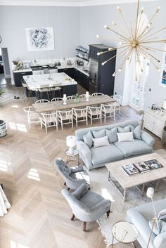 26 Unordinary Open Living Room Design Ideas — Home Decor Ideas Living Room Seating, Dining Room Design, Kitchen Design, Kitchen Layout, Living Room Interior, Living Room Decor, Apartment Interior, Dining Living Room Combo, Cheap Apartment