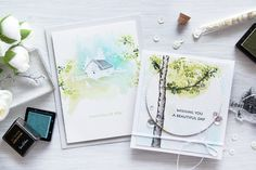 #Altenew Watercolor Birch Tree Cards Stamp Designed by #Marika (on fav + wc2)