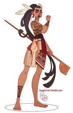 My submission for this month's Character Design Challenge. The theme was Maori. - My submission for this month's Character Design Challenge. The theme was Maori Warrior. Character Design Cartoon, Character Design Animation, Character Design References, Character Design Inspiration, Comic Character, Character Concept, Fantasy Character Design, Girls Characters, Female Characters