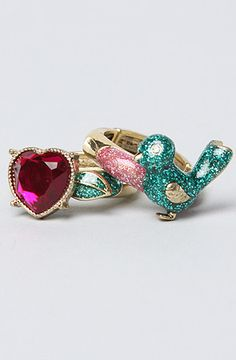 The Bird and Heart Ring Set by Betsey Johnson