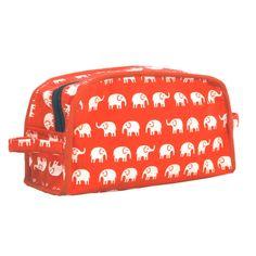 Red and White Elephant Dopp Kit