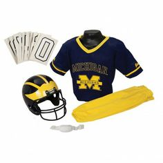 College Football Deluxe Uniform Set - Michigan - Pass along the college football tradition to your young fan with this official College Football Deluxe Uniform Set. Included is an official team jersey, team helmet with authentic logo and team colors, and team pants that will have them looking ready to take the field. The set also includes iron-on numbers (0-9) for the back of the jersey. - See more at: http://franklinsports.com/shop/college-deluxe-uniform-set