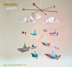 PAPER MOBILE BOAT - Decoración infantil con barcos de papel