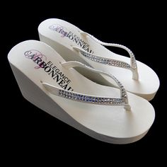 d32cd47f7fc8 Elegance by Carbonneau Crystals Crystals ~ Ivory or White High Wedge Bridal  Flip Flops with Crystal Accented Suedene Strap