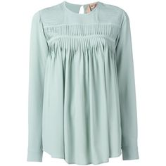 Nº21 ruffled longsleeved blouse (€485) ❤ liked on Polyvore featuring tops, blouses, green, long sleeve blouse, frill blouse, green top, green long sleeve blouse and frilly blouse